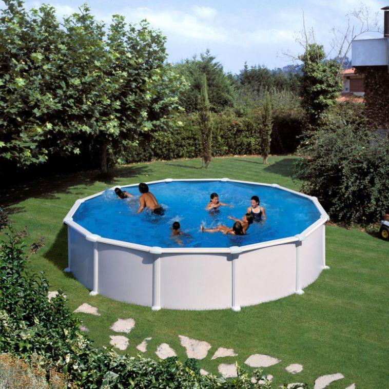Piscina rotonda gre fidji bianca h 120 cm piscina for Piscina rotonda