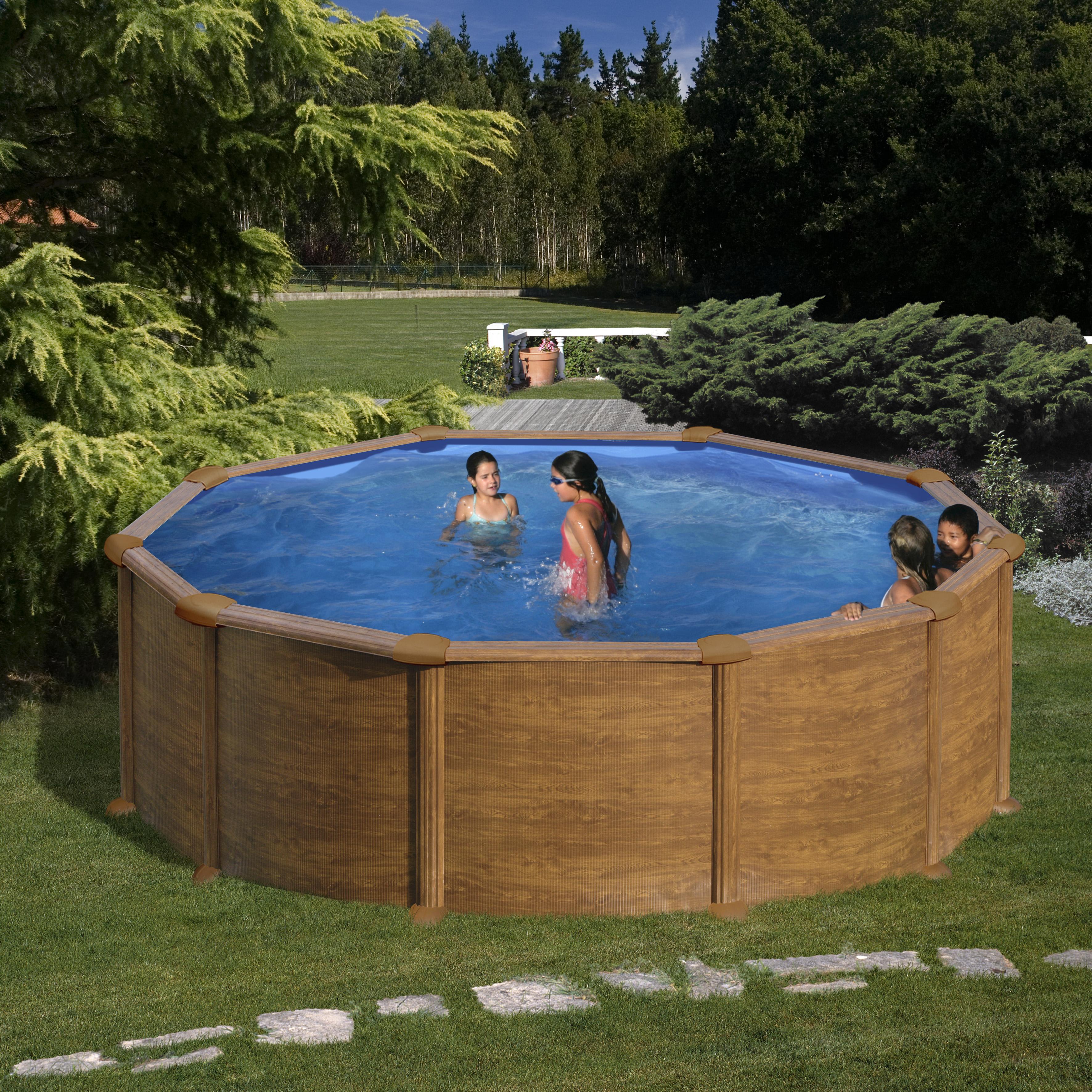 Piscina rotonda gre pacific effetto legno h 120 cm for Piscina rotonda