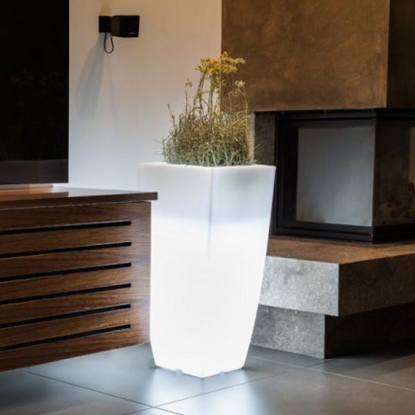 Vaso luminoso quadrato h 90 cm piscina giardino shop for Contenitori resina per esterni