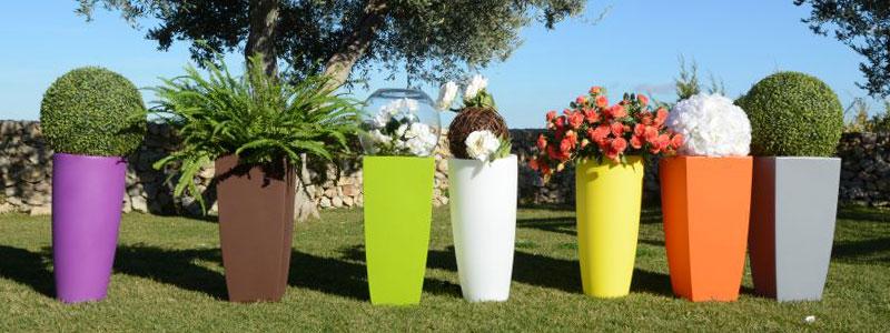 Vaso arredamento casa giardino quadrato h 90 cm colore sabbia piscina giardino shop - Vasi da esterno alti ...