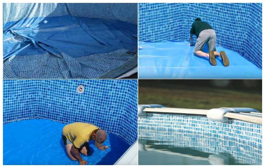 Liner ricambio mosaicato piscina gre ovale h 132 cm for Rail piscine hors sol