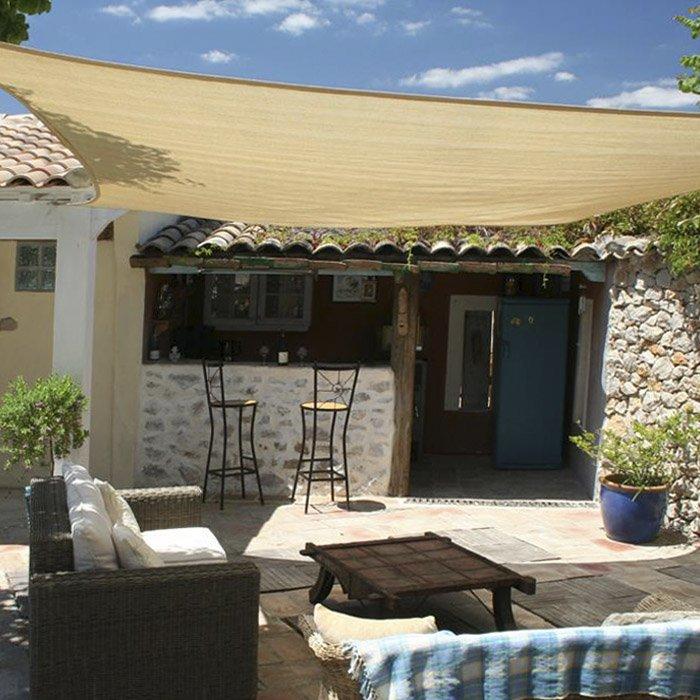 Vela tenda ombreggiante quadrata tessuto colore beige mt for Tenda ombreggiante