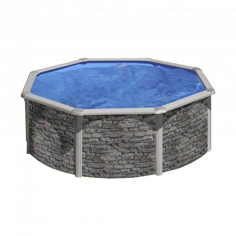piscina gre star pool tonda effetto pietra