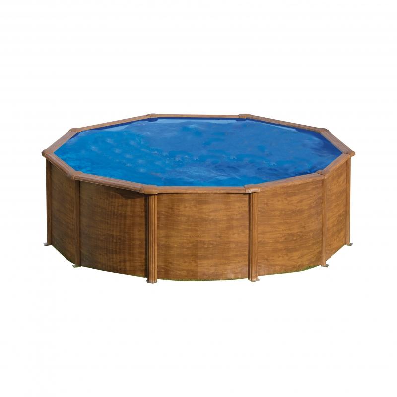 piscina gre star pool tonda effetto legno