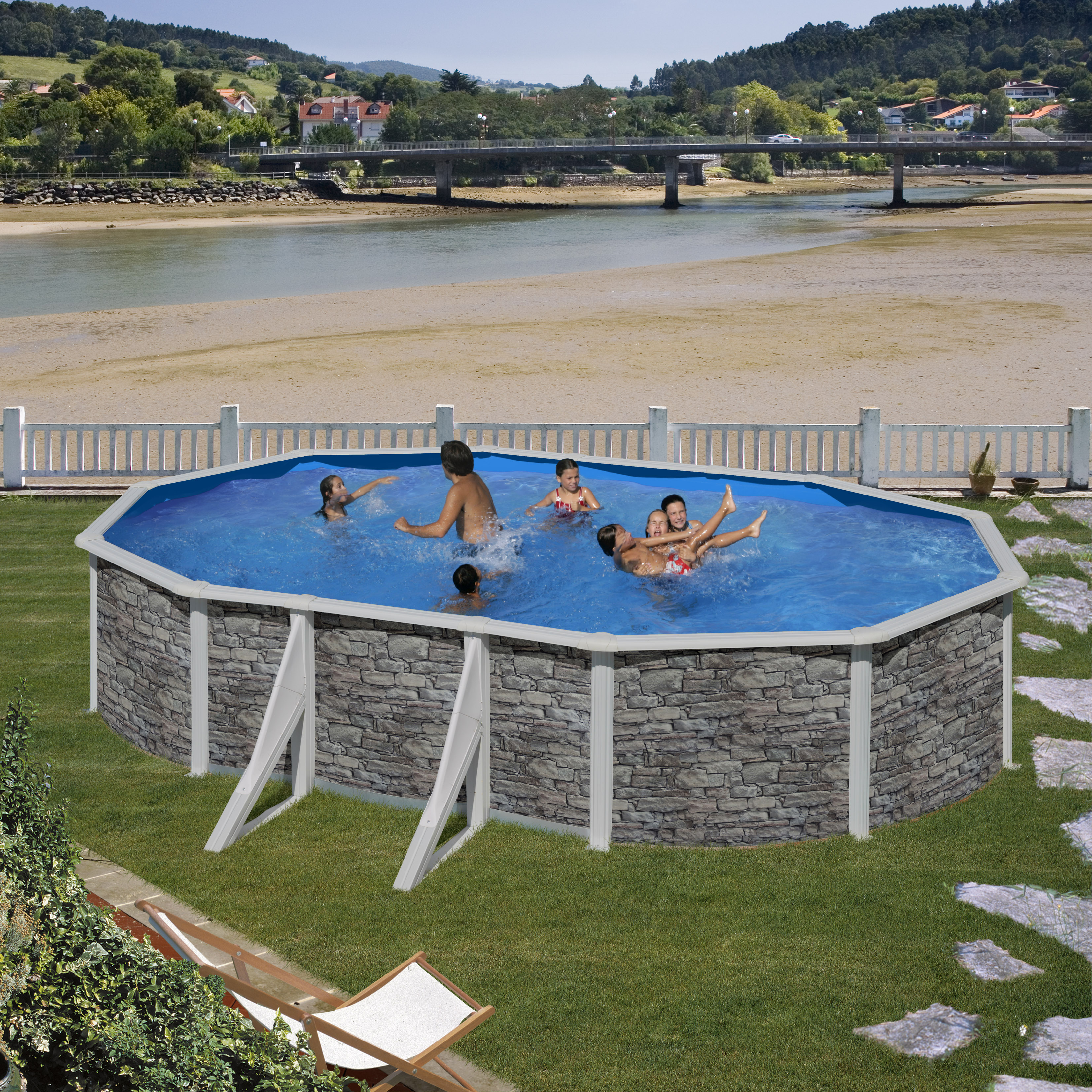 Piscina ovale gre cerdena effetto pietra h 120 cm for Gre piscine ricambi