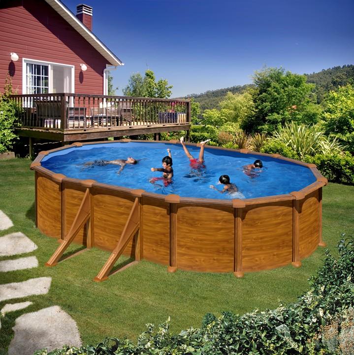 Piscina ovale gre pacific effetto legno h 120 cm piscina for Gre piscine ricambi