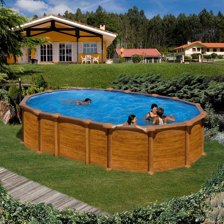 Piscina ovale gre amazonia effetto legno h 132 cm for Aufstellbecken stahlwand