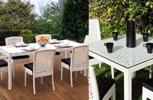 tavolo e sedie perla alluminio rattan piscina giardino