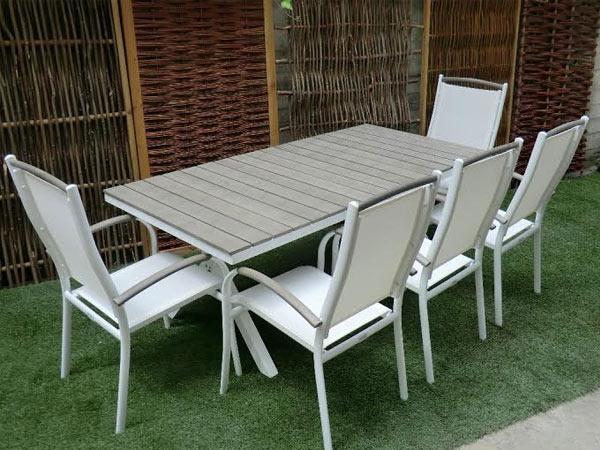 Tavolo e sedie laguna alluminio wpc textilene piscina - Tavolo e sedie da giardino ...